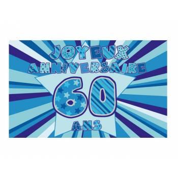 Décor sur sucre 60 ans Bleu A3