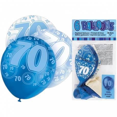 Ballons latex assortis bleu/blanc Ø 30 cm Parfait pour la deco de votre fête ou anniversaire.