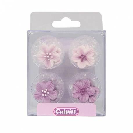 12 fleurs rose en sucre pour décorer vos gâteaux, cupcakes, glaces...Dimensions: Ø2.4cm