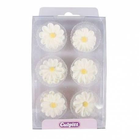 12 Marguerites blanches en sucre pour décorer vos gâteaux, cupcakes, glaces...Dimensions: Ø2.8cm