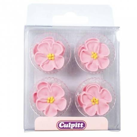 Boîte de 12 mini décors fleurs roses en sucre pour la deco de cupcakes et gâteau.Diamètre: 2.5 cm