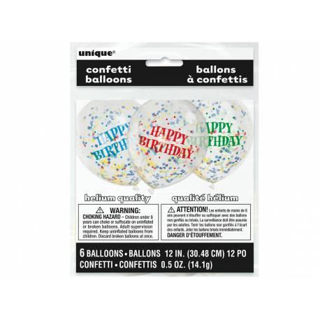 6 Ballons transparent impression Happy birthday en latex rempli de confettis en papier multicolore, ces ballons sont ultra tendance pour...