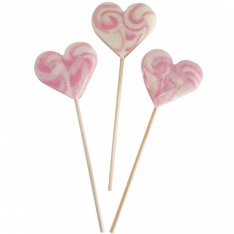 10 Sucettes foraines coeur pour vos candy bar, goûter d'anniversaire et mariage Colorants et arômes naturels Couleur: rose Goût :...