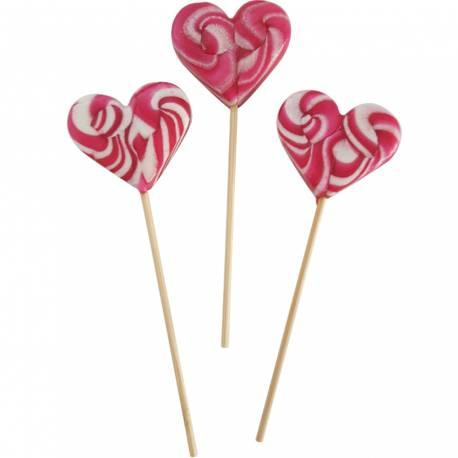 10 Sucettes foraines coeur pour vos candy bar, goûter d'anniversaire et mariage Colorants et arômes naturels Couleur: fuchsia Goût :...