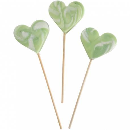 10 Sucettes foraines coeur pour vos candy bar, goûter d'anniversaire et mariage Colorants et arômes naturels Couleur: verte Goût :...