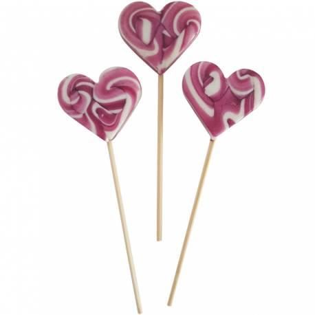 10 Sucettes foraines coeur pour vos candy bar, goûter d'anniversaire et mariage Colorants et arômes naturels Couleur: violette Goût :...