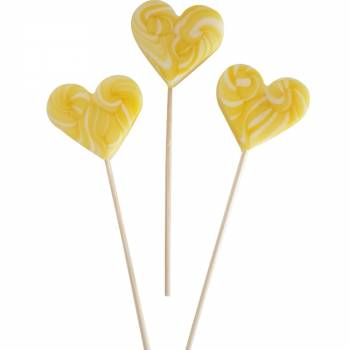 10 Sucettes foraines coeur jaune