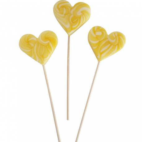 10 Sucettes foraines coeur pour vos candy bar, goûter d'anniversaire et mariage Colorants et arômes naturels Couleur: jaune Goût :...