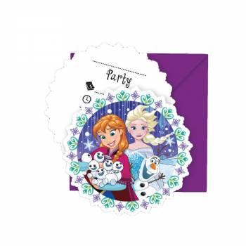 6 Cartes invitations La Reine des Neiges flocons