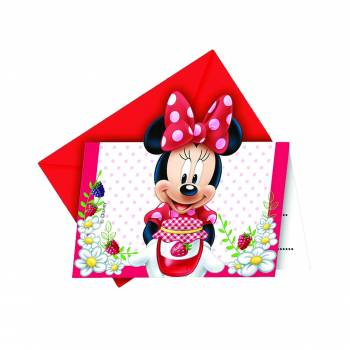 6 Cartes invitations Minnie jardin