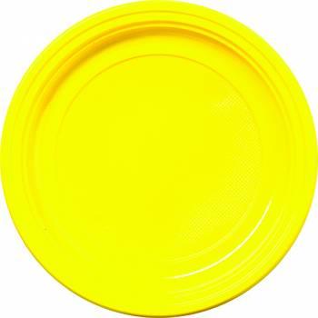 30 Assiettes plastique eco jaune