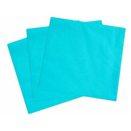 Paquetde 50 serviettes turquoises intissé pour decorer vos tables de fête. Dimensions: 40 cm x 40 cm