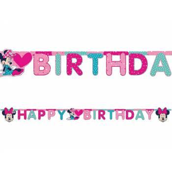 Banderole Happy Birthday Minnie pois