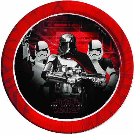 8 Assiettes en carton Star Wars pour une décoration d'anniversaire Star Wars last Jedi Dimensions : Ø23cm