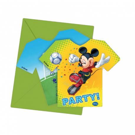 6 cartes d'invitation Mickey foot + enveloppes pour la déco anniversaire enfant. Dimensions: