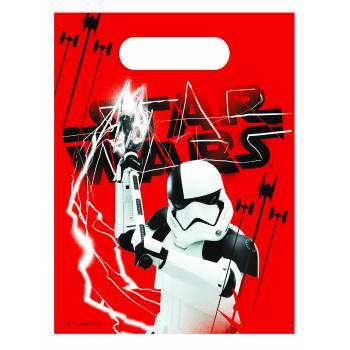 6 Sachets de fête en plastique Star Wars Last Jedi