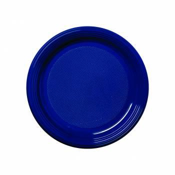 50 Assiettes dessert plastique eco bleu marine