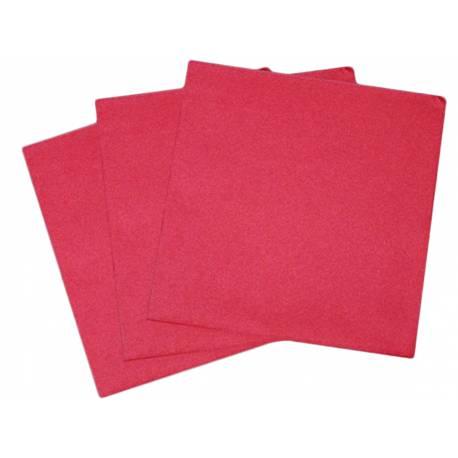 Paquetde 50 serviettes intissés bordeaux pour décorer vos tables de fêtes. Dimensions: 40 cm x 40 cm