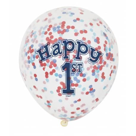 6 Ballons transparent impression 1 an en latex rempli de confettis en papier bleu et rouge, ces ballons sont ultra tendance !