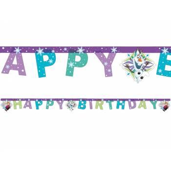Banderole Happy Birthday La Reine des Neiges flocons