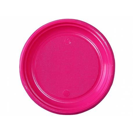 30 assiettes en plastique fuschia Dimension : Ø 22 cm