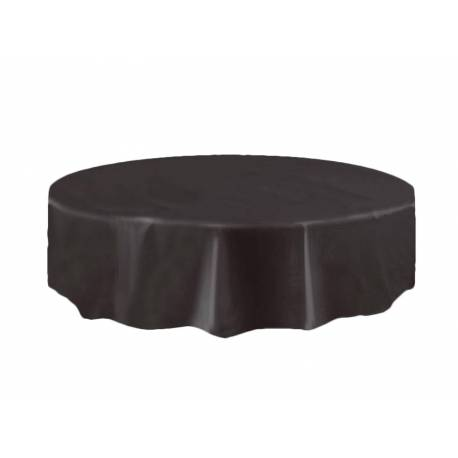 deco table halloween nappe ronde noire plastique. Black Bedroom Furniture Sets. Home Design Ideas
