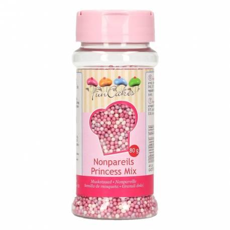 Pot de mini perles en sucre rose violet et nacré pour la déco de vos gâteaux princesses et girly Marque Funcakes Pot de 80gr