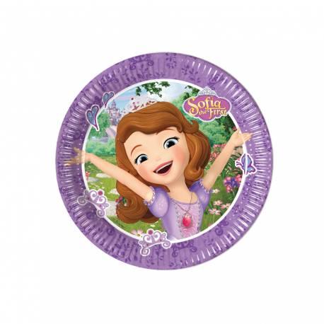 8 Assiettes à dessert en carton pour anniversaire thème Princesse Sofia Ø 20 cm