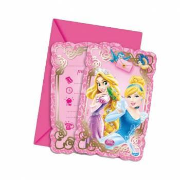 6 Cartes invitations Princesses Disney
