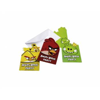 6 cartes invitation Angry Birds