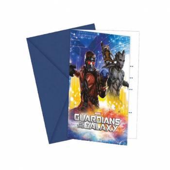 6 Cartes d'invitation Les gardiens de la galaxie