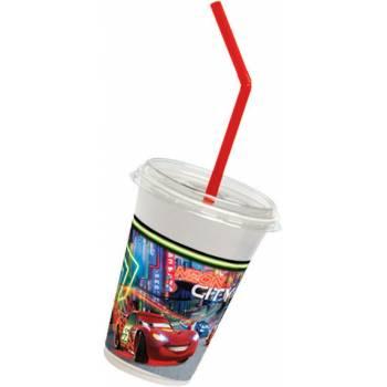 12 Gobelets milkshake + paille Cars néon