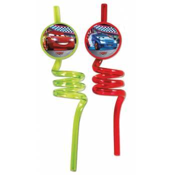 2 pailles spirales Cars néon