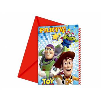 6 Cartes invitations Toy Story star