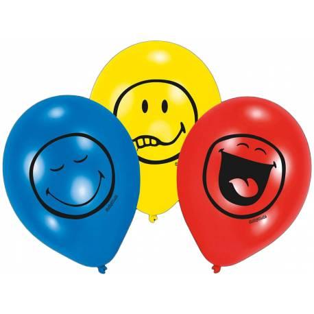 6 Ballons en latexSmiley pour la deco de vos anniversaires. Ø 23 cm