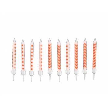 10 Bougies avec bobêches chevrons et pois orange