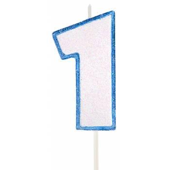Bougie chiffre pailletée bleu 1