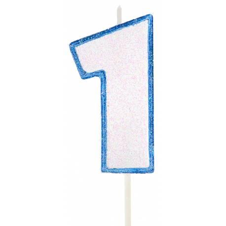 Bougie chiffre pailletée bleu en cire