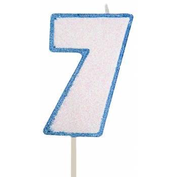 Bougie chiffre pailletée bleu 7