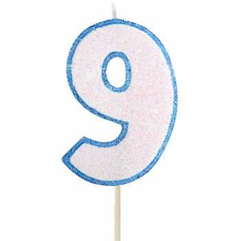 Bougie chiffre pailletée bleu 9