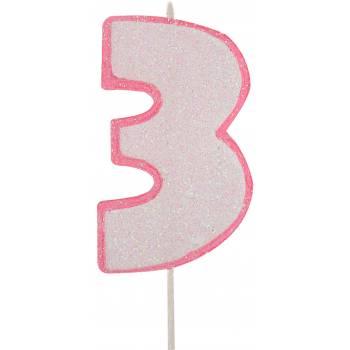 Bougie chiffre pailletée rose 3