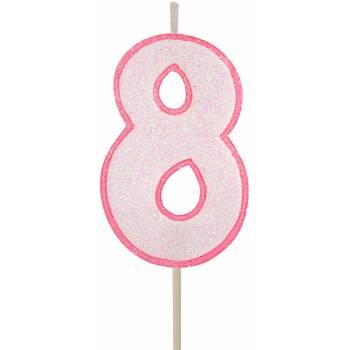 Bougie chiffre pailletée rose 8