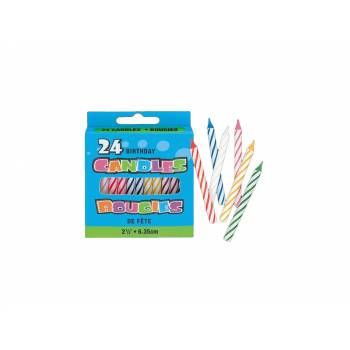 24 Bougies Multicolore 6.5 cm