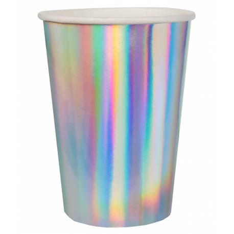 10 Gobelets en carton rainbow irisés pour une décoration de table ultra tendance Dimensions : 7 cm x 9 cm