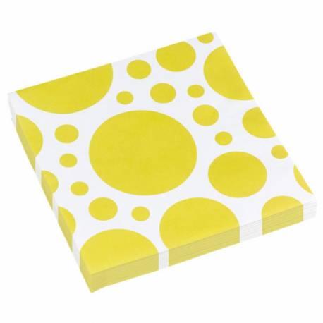 20 Serviettes en papier à pois jaune Dimensions : 33 cm x 33 cm