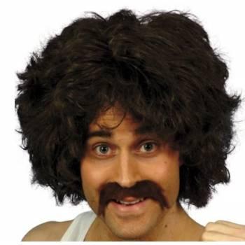 Perruque brune + moustache année 80