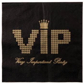 20 serviettes VIP noires