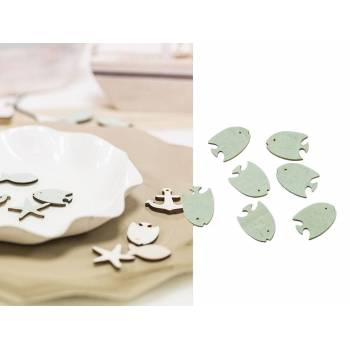 18 mini poissons tropicaux adhésif en bois bleu ciel