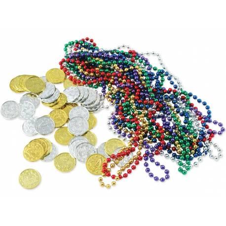 Assortiment d'accessoires déco pour remplir les coffres à trésor pour vos soirées pirate. Contient: 12 guirlandes de perles multicolore,...