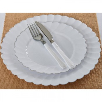 20 Fourchettes jetable luxe Blanc argent